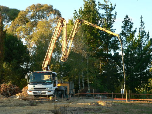 Concrete pump getting ready to pur the footings