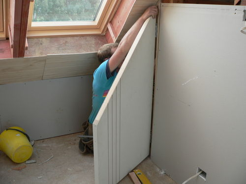 angle door being fitted