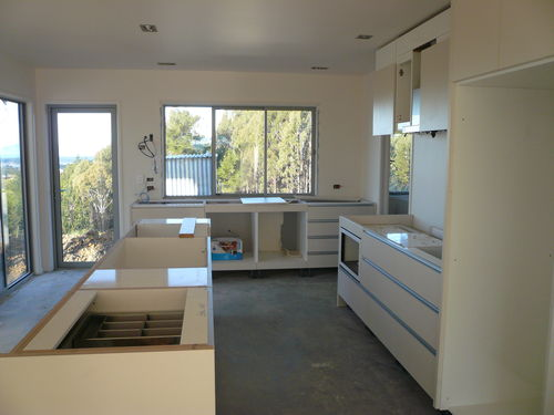 kitchen assembled - without appliances and benchtops