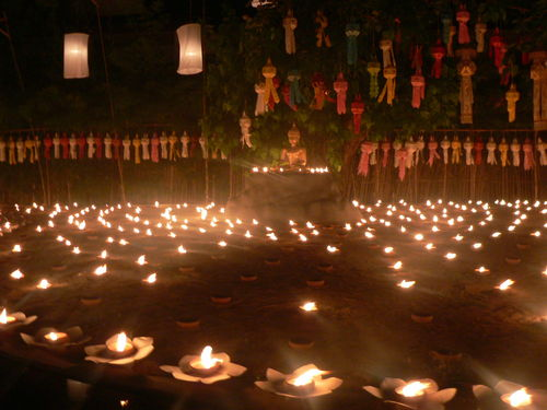 candles in front of Buddha