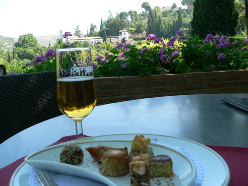 Sitting in the Parador having a nice drink and nibbles looking out over Generalife
