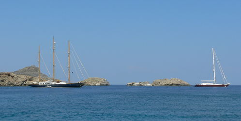 Yachts in Lindos bay